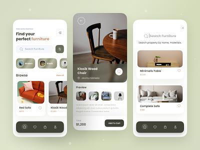 Furniture Mobile App smooth ui modern arsitechture furniture app property furniture flat app design mobile ui ui ux design