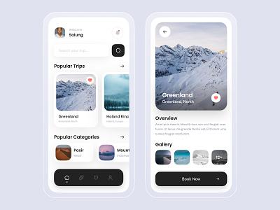 Travel App tourism app trip destination tour ticket app minimalist vacation mobile app traveling travel app design app mobile ui ui ux