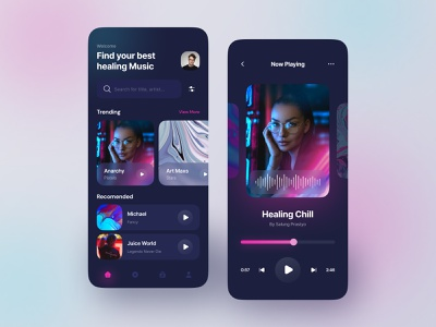 Music App app clean minimalist song app player listening podcast ui design music app gradient dark mode app design playlist music mobile design ui ux ui