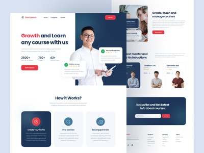 Online Course Landing Page mentor teaching education minimalist learning platfrom learning online course course landing page web design website design ui ux ui