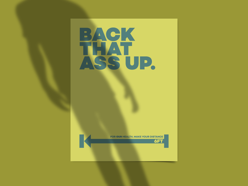 Back that Ass Up print funny humor vector flat poster design social distancing pandemic covid-19 poster