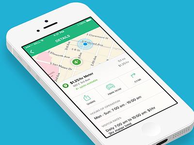 Parking app details screen parking app ios map details