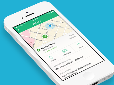 Parking app details screen