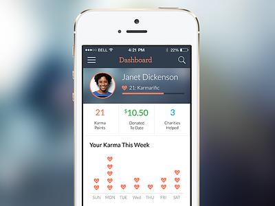 Karma App ios app dashboard