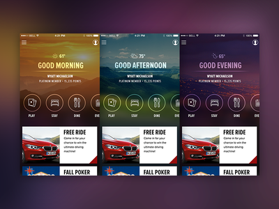 Dynamic Home Screen App casino app ios cards day time