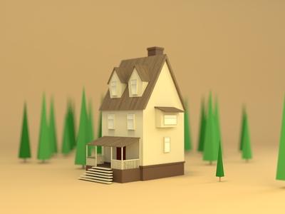 森林小屋-C4D临摹练习