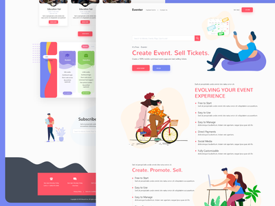 Eventer - The event Solution online booking sell sheet webdesign colorful ticket booking booking event