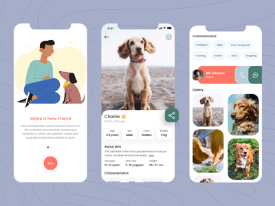 Mobile App - Pets care uiux pets pet care app design ui ux ios mobile app ios mobile colorful design care logo app concept