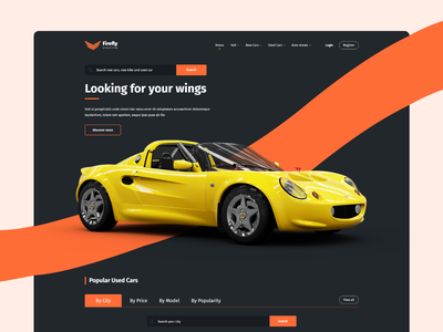 Firefly - New/used Car Website Concept uiuxdesign webuiuxdesign purchase used car landing page design website design landing page ui car purchase automobile