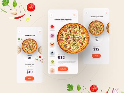 Custom Pizza mobile app Exploration online order app concept uiux mobile app custom pizza food order food colorful pizza pizza party order pizza making custom