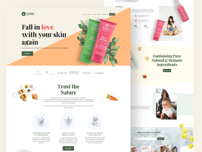 ZUNO - An Organic Product natural products skin care mother product baby products purchase product organic light colors website design ecommerce