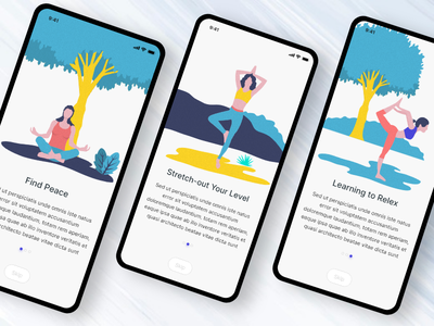 Yoga Fitness On-boarding illustration onboarding uiux android app ios app app fitness app fitness yoga