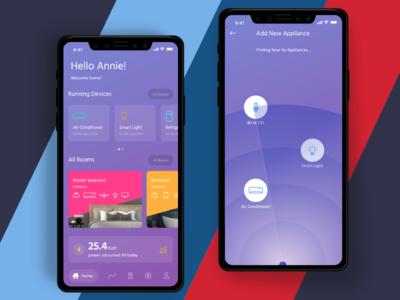 Smart Home - App concept mobile app m gradient clean smart home uiux android ios smart home app home