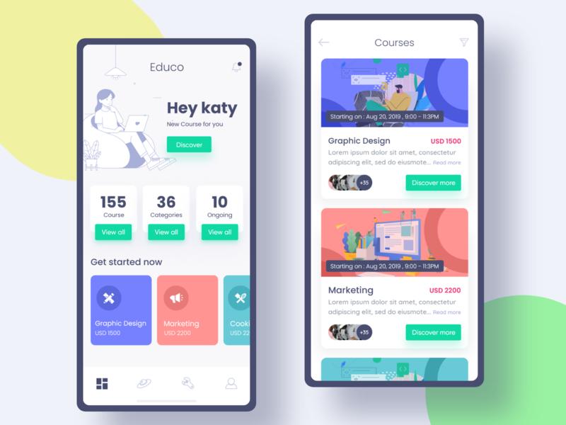 Educo - Online Learning Platform App mobile app illustration online education course andorid ios app uiux learning app online education app education