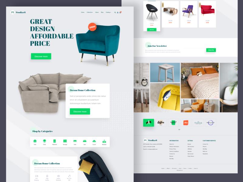 Woodkarft - Ecommerce Web Exploration product ecommerce design ecommerce web layout furniture store furniture