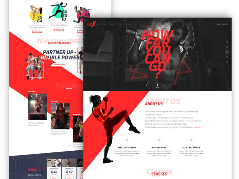 GYX - Fitness landing page exploration design workout health home page homepage uiux fitness landing pae gym