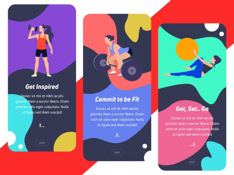 Onboarding - Gym Center vector app concept mobile app red health gym fitness ios app onboarding illustration uiux andoid ios