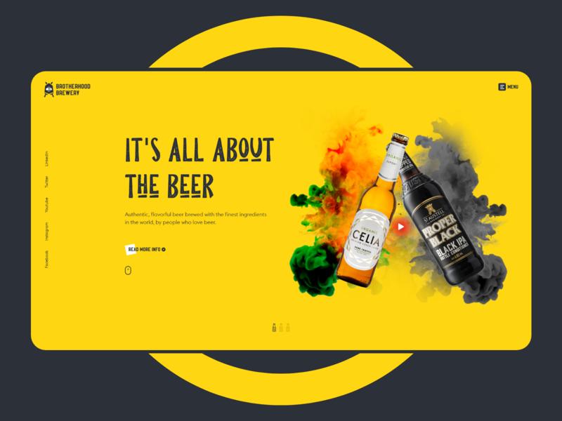 Brotherhood Brewery banner concept header uiux yellow brand beer branding brewery
