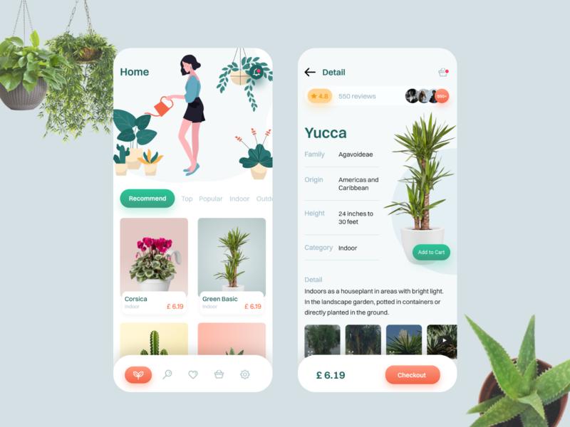 My Plants App plant shopping shopping listing cards green illustraion andorid ios plant nursery plant app mobile app uiux