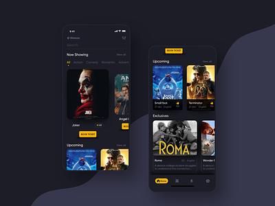 Movie App booking movie booking movie dark app design ui  ux app concept mobile app uiux ios
