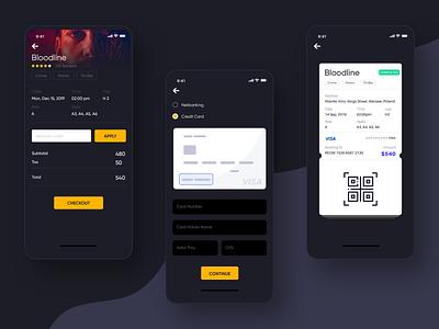 Movie App booking system detail search movie booking dark design mobile app uiux movie app booking booking app app design app concept