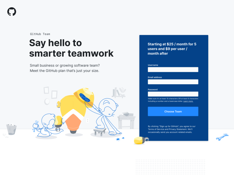 GitHub Team Landing Page sign up illustration ui form github web design marketing design landing page