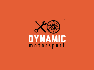 Dynamic Motorsport Logo logo branding orange car garage tools autos identity
