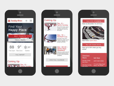 Sunday River Redesign Concept - Mobile mobile sunday river ski resort mobile first skiing snowbaording mockups visual design