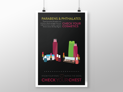 Check Your Chest - 2D Series women empower makeup breast cancer poster illustration social cause campaign