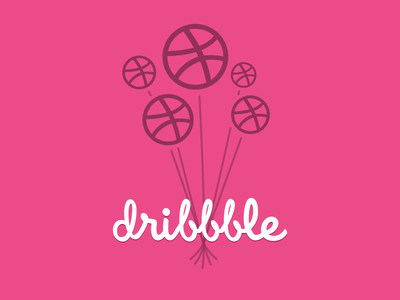 Happy Birthday Dribbble! dribbble pink balloons contest entry hbd