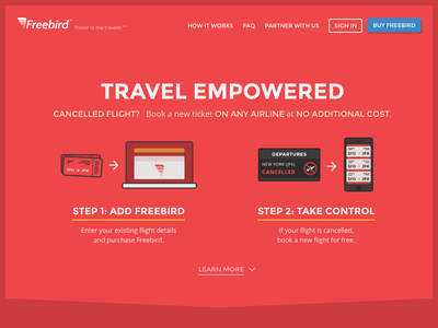 Freebird Homepage v2 arrowd planes flights marketing travel red hero home homepage