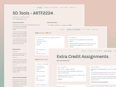 5D Tools: Intro to HTML & CSS education web site pink learning typography