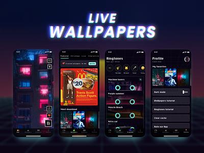 Live Wallpapers Redesign Concept mobile design mobile mobile app pixels pixelart retrowave retro design ringtones cyberpunk cyberpunk2077 punk branding wallpapers app design ui futur retro