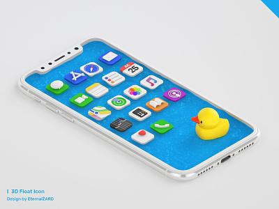 3D Float Icon iphonex pool water c4dart c4d ui