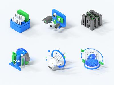 IOT System Icon design 3d art ux c4d system icon icon ui