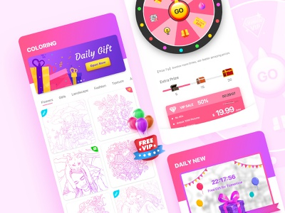 Coloring  UI ux colorful game ui ui