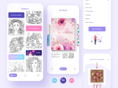 Coloring Book UI native ads newsfeed ux design game ui ui