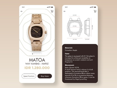 Detail Product of Matoa Watch mobile app design mobile app mobile ui mobile indonesia designer indonesian vector clean flat minimal type illustrator app icon typography branding design illustration ux ui