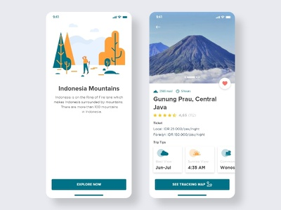 Gunung Prau: Part of Indonesia Mountains vector ux ui typography type mobile ui mobile app design mobile app mobile minimal indonesian indonesia designer illustrator illustration icon flat design clean branding app