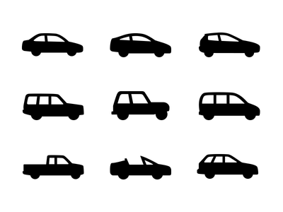 Car Icons icons cars vehicles minimal noun project iconography truck suv van jeep sedan coupe hatchback station wagon convertible