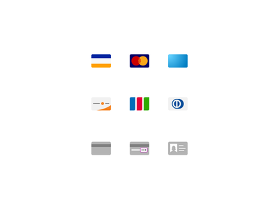 Small Payment Icons icons credit card license payment visa mastercard american express discover jcb diners club minimal