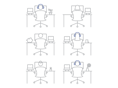Open Office Manners illustration line art line icon infographic drawing person people desk office macbook aeron chair
