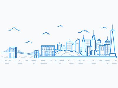 New York City Skyline city skyline nyc illustration manhattan new york new york city empire state building brooklyn bridge line art chrysler building central park