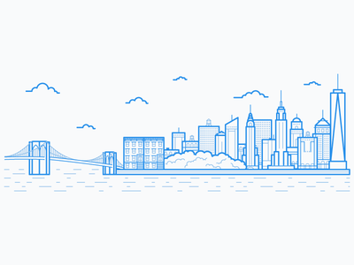 New York City Skyline city skyline nyc illustration manhattan new york new york city empire state building brooklyn bridge line art chrysler building central park