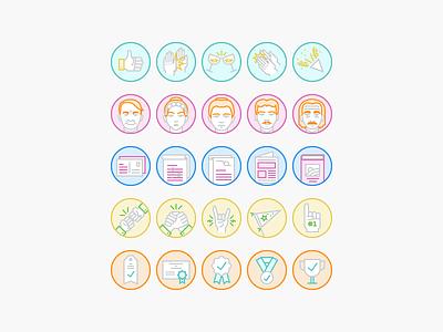 Achievement Badges community success icons line icons illustration badges science hands achievement badge