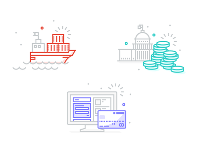 Commerce Illustrations building line art illustration money coins computer boat credit card checkout taxes shipping commerce