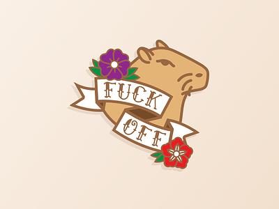 Capybara Isn't Amused flowers type tattoo fuck off capy judgmental mad animal capybara