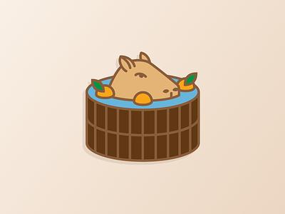 Capybara Onsen bath onsen animal citrus fruit yuzu capy capybara