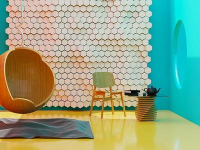 Living room illustration photoshop render models cg creative modern home house livingroom 3dartist 3dart