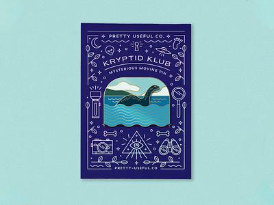 Nessie Sliding Enamel Pin for sale product monster creature illustration desjgn enamel pin cryptid nessie loch ness monster